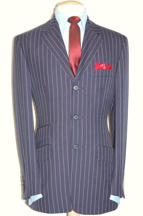 LIT ALL WOOL NAVY CHALK STRIPE £295.00