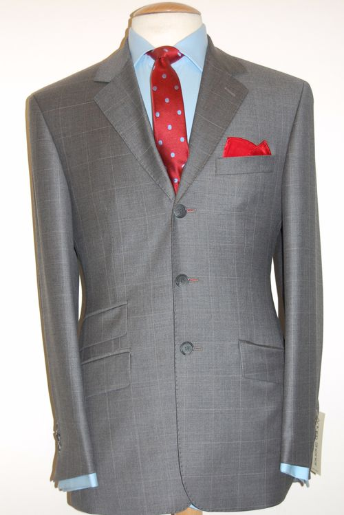 LIT SUPERFINE WOOL GREY WINDOW PANE CHECK £350.00